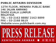 Public Bank Group Recorded Pre-Tax Profit of RM3.80 Billion For the First Nine Months of 2012